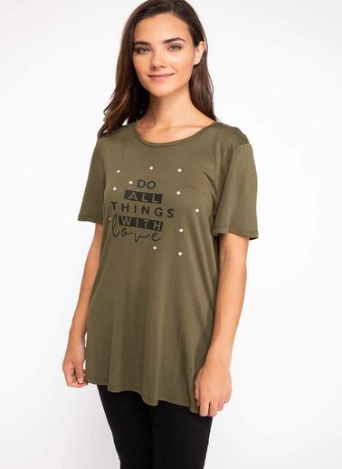 DeFacto Yazı Baskılı T-shirt Haki
